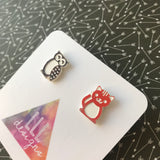 The Owl and the Pussy Cat Earrings - Fun and Fab Stud Earrings!