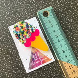 Layered Acrylic IceCream Brooch - Hundreds and Thousands IceCream Brooch!