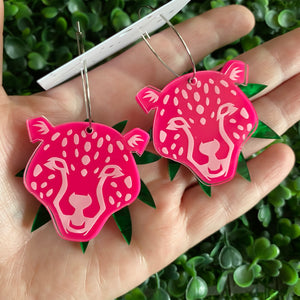 Cheetah Earrings. Hot Pink Layered Cheetah Hoops. With Multi Functionality!