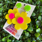 Flower Earrings - Flower Power Statement Dangle Earrings. Fabulous Yellow and Pink Flowers with Green Tops.