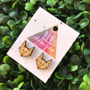 Geometric Fox Head Etched Timber Stud Earrings.