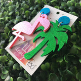 Mega Size Totes Tropical Statement Dangles. A mis-match made in heaven! Flamingo and Palm Tree Awesomeness.