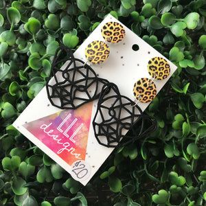 Geometric 3D Printed Cheetah Statement Dangle Earrings.