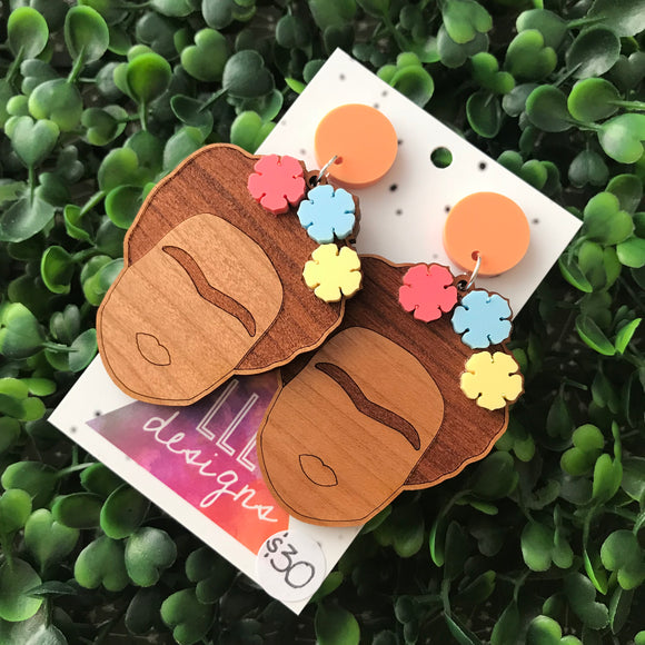 Fabulous Frida Stacked Statement Dangle Earrings. Bamboo & Glitter Acrylic Laser Cut Earrings. Fun and Fabulous Earrings!! (matte pastel)