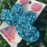 Mega Sparkle Blue Confetti Love Heart Statement Dangle Earrings. Be BOLD - Be You!!