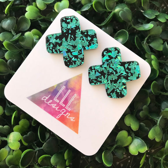 Gorgeous Teal Shatter Acrylic X Mega Studs. These Babes are BOLD!