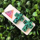 Jade Iridescent Holographic Cross Statement Stud Earrings.