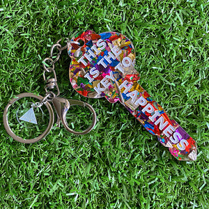 """THIS IS THE KEY TO HAPPINESS"" Statement Acrylic Keyring."
