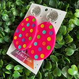Easter Egg Earrings. Hand Painted Hot Pink Easter Egg Dangle Earrings - Featuring Rainbow Polka Dots with Silver Super Glitz Tops to make them POP! Large Size.
