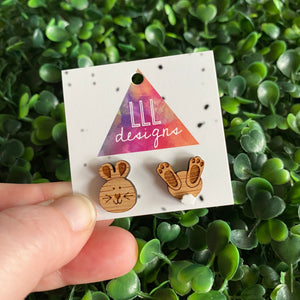 Easter Bunny Earrings. Super Duper Cute Little Easter Bunny Faces and Bums with 3D Tails!