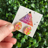 Easter Egg Earrings. Pink & Yellow Speckled Easter Egg Stud Earrings. Add some POP to your lobes this Easter Season!!!
