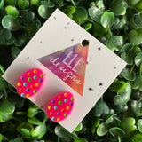 Easter Egg Earrings. Hand Painted Rainbow Polka Dot Easter Egg Studs - These guys are all kinds of great with their Hot Pink Base!