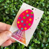 Easter Egg Brooch. Hand Painted Hot Pink Easter Egg Brooch - Featuring Rainbow Polka Dots.