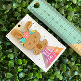 Easter Bunny Brooch with Hand Painted Pastel Flower Crown. Laser Cut & Etched Timber Brooch. no.4