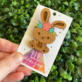 Easter Bunny Brooch with Hand Painted Pastel Flower Crown. Laser Cut & Etched Timber Brooch. no.5