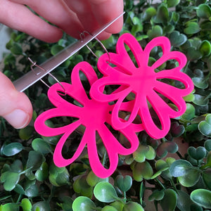 Hot Neon Pink - Happy Daisy Hoops - You can't help that Smile :) wearing these Fabulous Earrings.