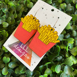 French Fry Earrings. Hand Painted Bamboo Iconic French Fry Dangle Hoop Earrings.