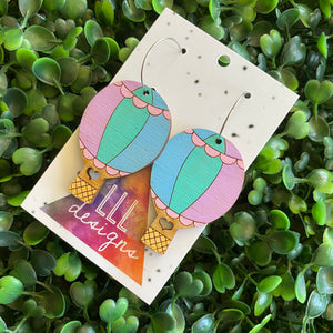 Hot Air Balloon Earrings. Hand Painted Pastel Rainbow Hot Air Balloon Hoop Dangle Earrings.
