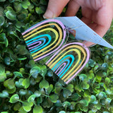 Rainbow Earrings. Fabulous Hand Painted Acrylic Pastel Rainbow Hoop Statement Earrings.
