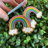 Rainbow Earrings. Hand Painted Timber Rainbow Hoop Earrings. MEGA SIZE! (Cute/Pink Colour way)