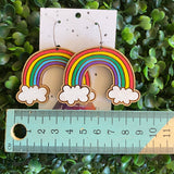 Rainbow Earrings. Hand Painted Timber Rainbow Hoop Earrings. MEGA SIZE!! (classic colour way)