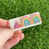 Rainbow Earrings - Hand Painted Acrylic Cute Style Rainbow Statement Stud Earrings - A Cute Little Slice of Rainbow Heaven :)