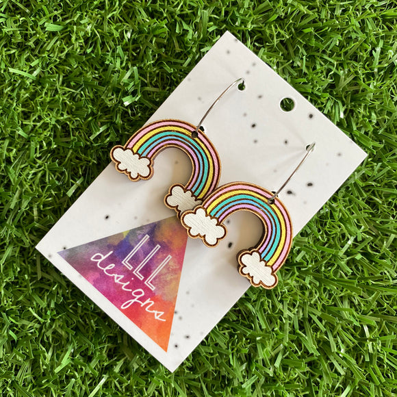 Rainbow Earrings. Hand Painted Timber Pastel Rainbow Hoop Earrings. (Med Size)