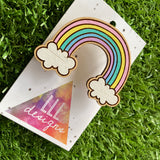 Rainbow Brooch. Hand Painted Timber Pastel Rainbow Brooch (MEGA Size)