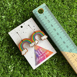 Rainbow Earrings. Hand Painted Timber Classic Rainbow Hoop Earrings. (Med Size)