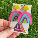 Rainbow Earrings. Quirky Colourful Hand Painted Clear Acrylic Rainbow Dangle Earrings with Fun Bright Yellow Cloud Tops to make them POP!