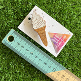 Ice Cream Brooch. Hand Painted Bamboo Soft Serve Ice Cream Brooch. A Mr Whippy Delight ;)