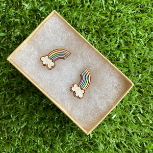 Rainbow Earrings. Itty Bitty Hand Painted Pastel Rainbow and Cloud Bamboo Stud Earrings. (Pastel Colour Way)