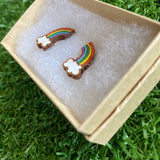 Rainbow Earrings. Itty Bitty Hand Painted Classic Rainbow and Cloud Bamboo Stud Earrings. (Classic Colour Way).