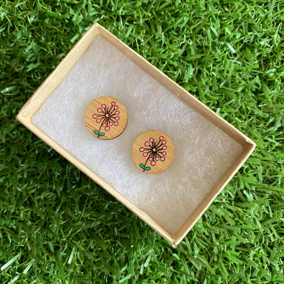 Flower Earrings. Hand Painted Coral Flower Burst Bamboo Stud Earrings.