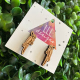 Cockatiel Earrings. Super Cute Little Laser Etched Cockatiel Bamboo Stud Earrings.