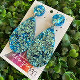 Baby Blue Confetti Tear Drop Dangle Earrings. All Kinds of Glitz and Glam! (Large Size.)