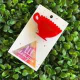 Tea Cup Brooch. Super Cute Little Red Tea Cup Brooch. Make every day a Tea Party!