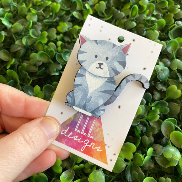 Cat Brooch. Super Cute Grey Printed Timber Kitty Cat Brooch.