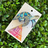 Turtle Brooch. Stunning Detailed Sea Turtle Printed Timber Brooch.