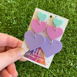 Pretty in Pastel Love Heart Trio Dangle Statement Earrings. These Babes are Perfection in Pastel! Featuring 3 Fabulous shades of Matte Pastel Acrylic.