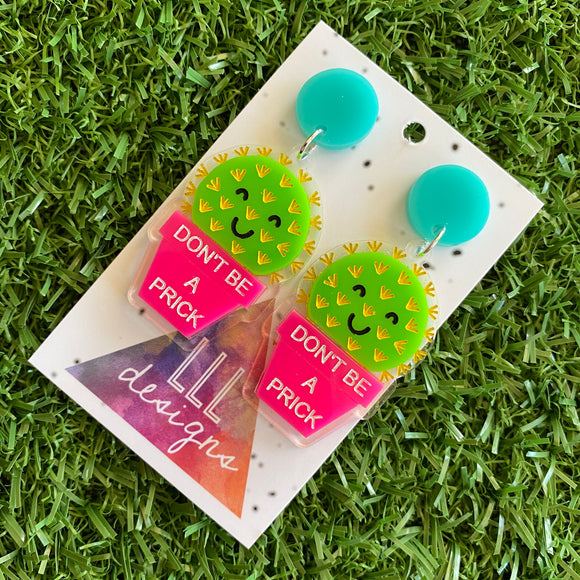 Cactus Earrings - Don't be a Prick Cactus Dangles 2.0 ;) These Cheeky little Guys will Absolutely put a Smile on your dial! (Short version)