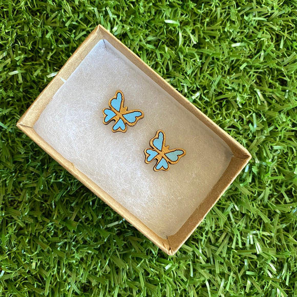 Butterfly Earrings - Itty Bitty Hand Painted Bamboo Butterfly Stud Earrings - In Baby Blue.