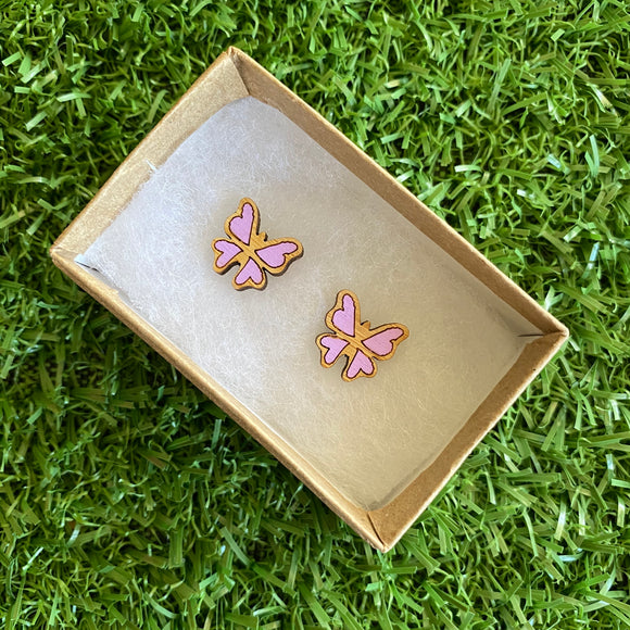 Butterfly Earrings - Itty Bitty Hand Painted Bamboo Butterfly Stud Earrings - In Lavender.