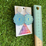 Doily Earrings - Soft and Delicate Baby Blue Doliy Design Dangle Earrings - Finished with Silver Glitter Tops.