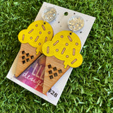 Ice Cream Earrings - Hand Painted Bamboo - Banana Ice Cream Cone Dangle Earrings. Finished with Mega Glitz Silver Tops to make them POP!