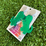 Trex Dino Earrings - Mirror Green Cartoon Trex Dino Dangle Earrings - These guys are so HAPPY and FUN - Sure to bring a SMILE :) to your dial!