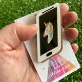Unicorn Mobile Phone Brooch - Who doesn't NEED a Magical Glitter Unicorn Phone...? Right!! This Babe is SUPER FABULOUS! Not easy to photograph though.....