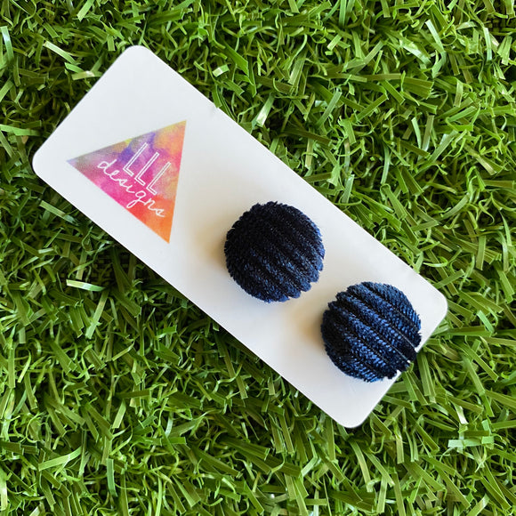 Navy Fabric Covered Studs - Velour Corduroy Stud Earrings - Soft and Fabulously Light to Wear.