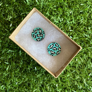 Silver Leopard Print Stud Earrings - Hand Painted Mint and Silver Leopard Print Earrings - Bamboo Studs - One of a Kind.
