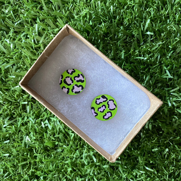 Purple Leopard Print Stud Earrings - Hand Painted Lime Green and Lavender Leopard Print Earrings - Bamboo Studs - One of a Kind.